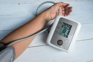 Blood pressure gauge show Hypertension or very high blood pressure