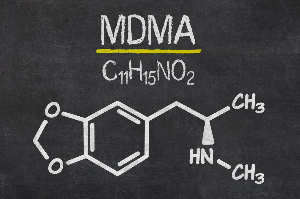 MDMA formula on a school blackboard.