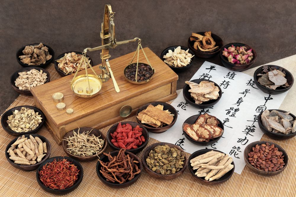 The variety of herbal remedies on a table .
