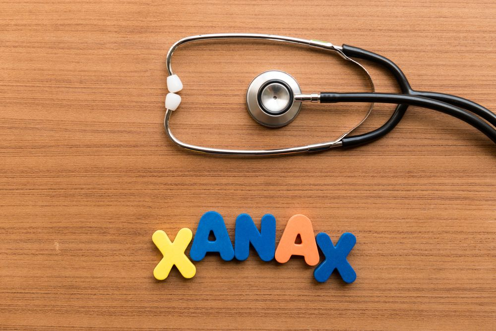 Xanax in colorful letters next to a stethoscope.