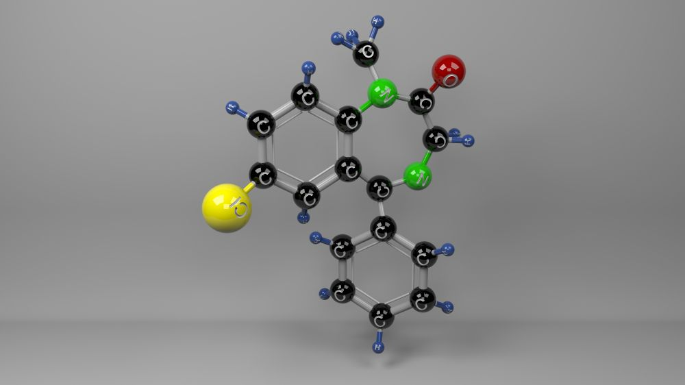 Molecular structure model of diazepam, the main active ingredient in Valium.