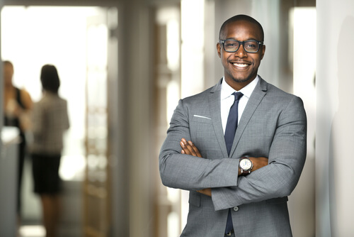 healthy black businessman smiling