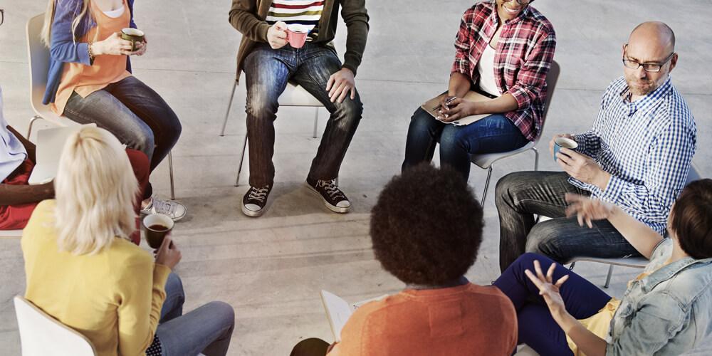 People sitting on group meeting