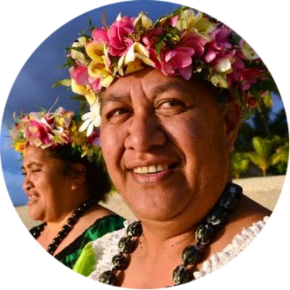 Portrait of two happy smily mature Polynesian Pacific islanders