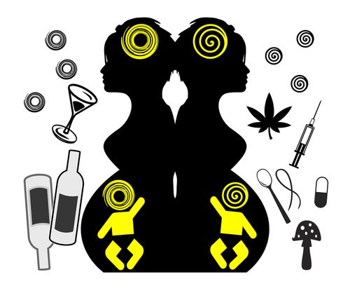 Back to back silhouettes of mothers surrounded by various drugs.