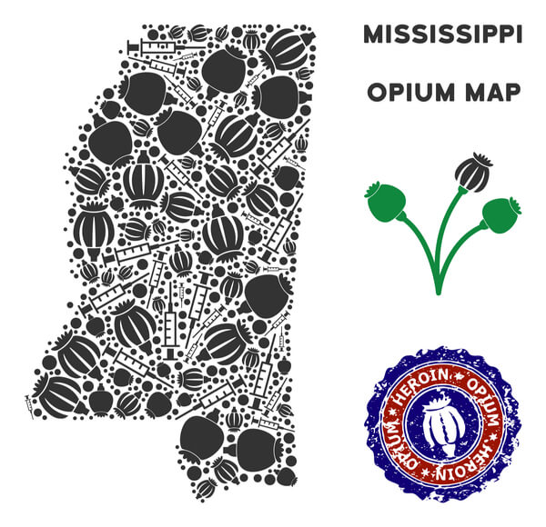 map if Mississippi state made of opium and syringes