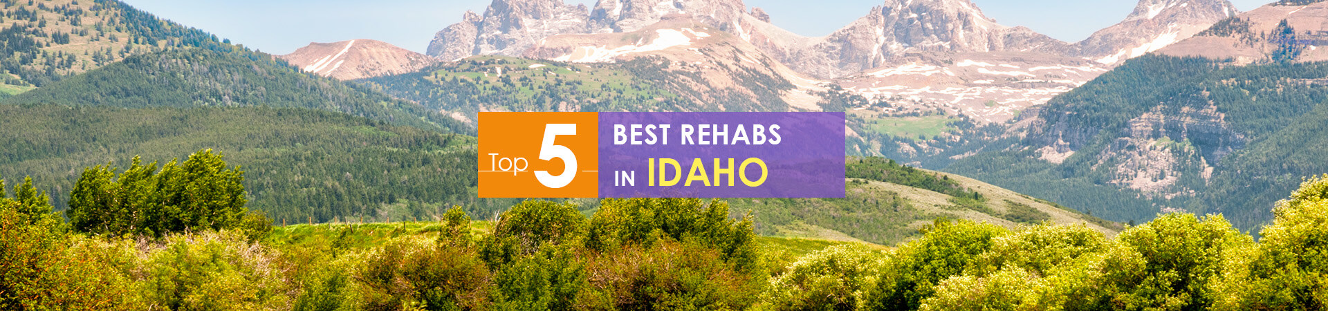 View on Idaho mountains and top 5 rehab caption