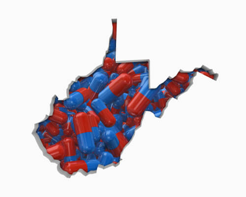 map of West Virginia state made of pills