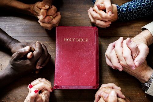 people holding sitting around the Holy Bible and praying together