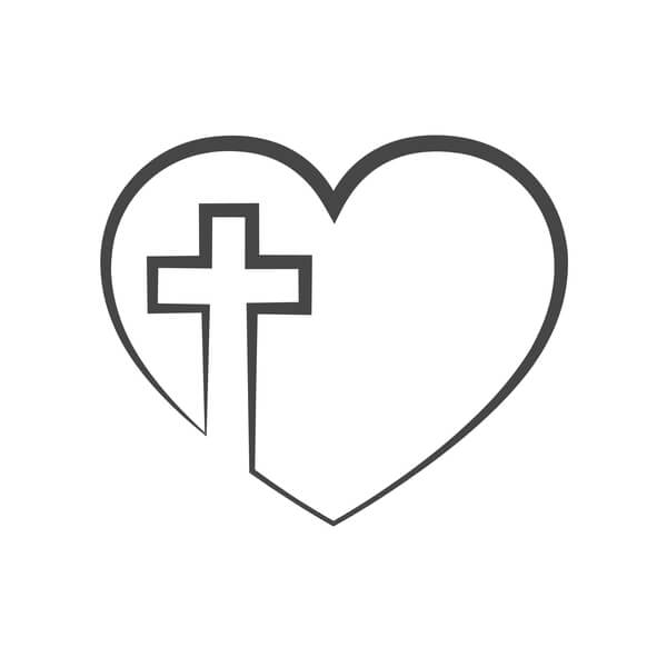 christian cross and a heart on the background