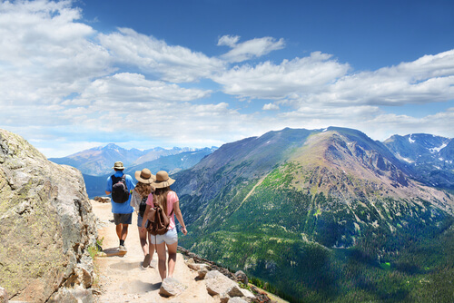 group of people hiking in the Colorado mountains
