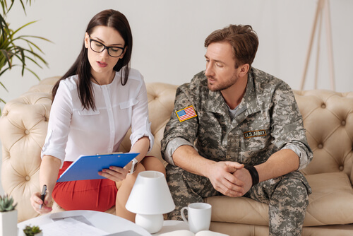 former military and young female therapist