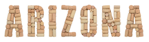 Arizona word made of wine corks
