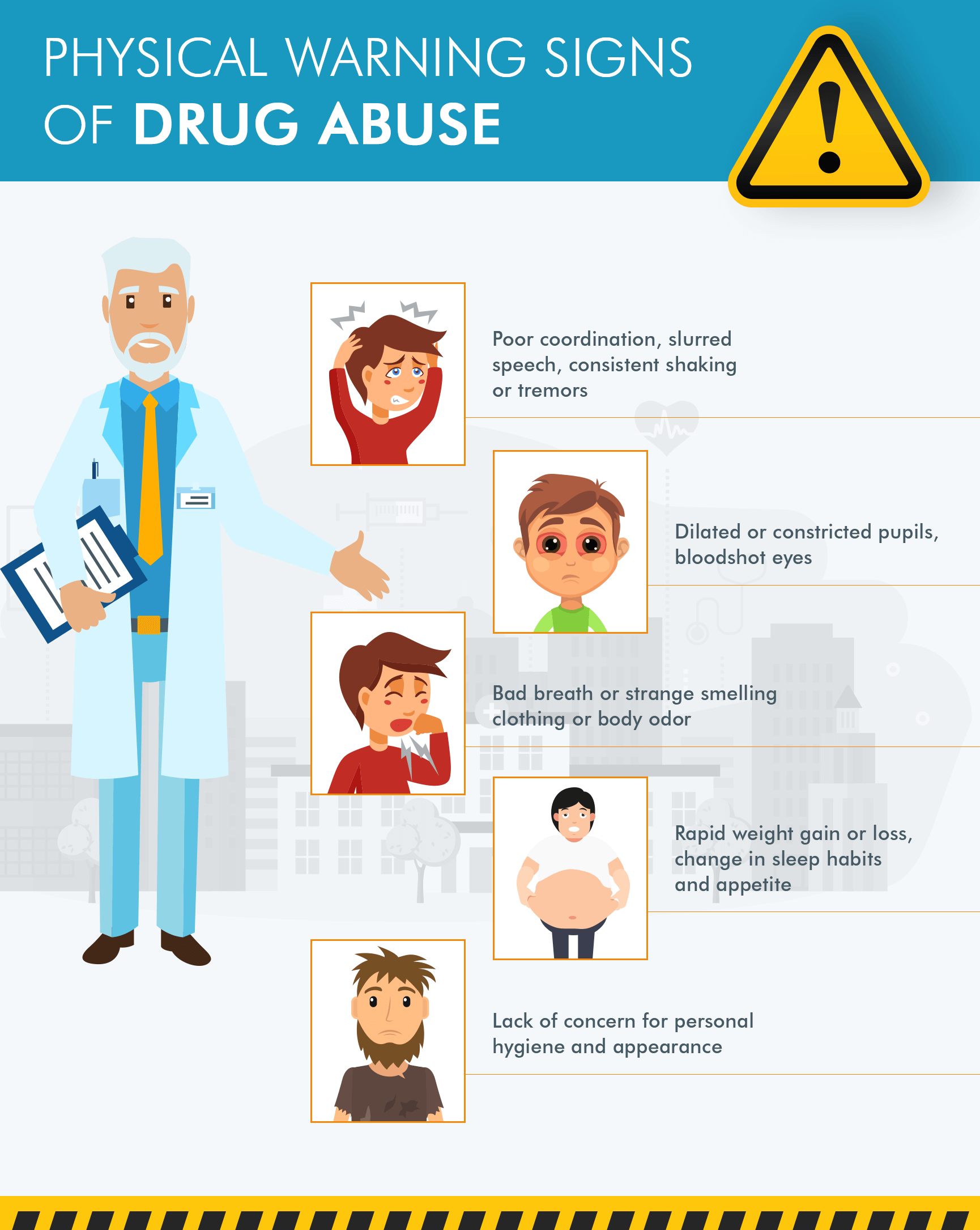 signs of drug abuse infographics