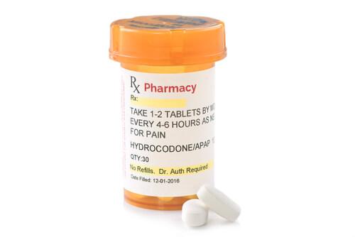 bottle with prescription hydrocodone