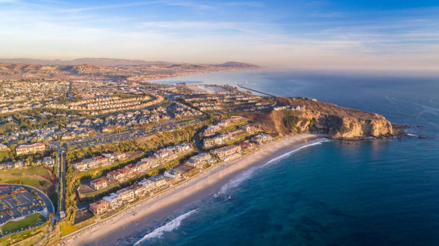 Aerial view of California coast