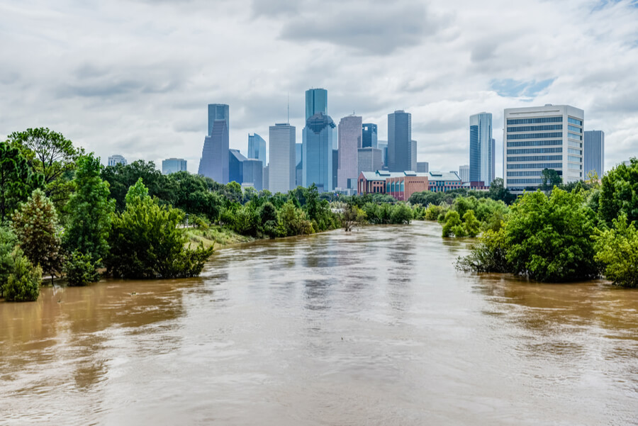 Bayou River with downtown Houston