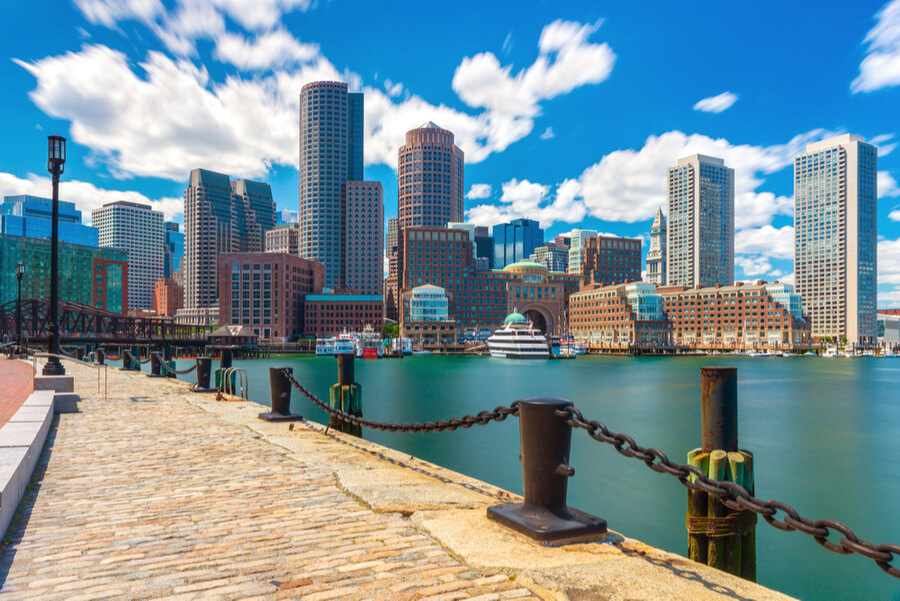 Boston skyline in sunny summer day,