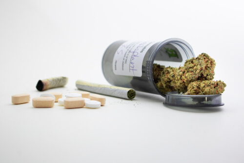 Medical marijuana and pills prescribed for treatments and pain relief