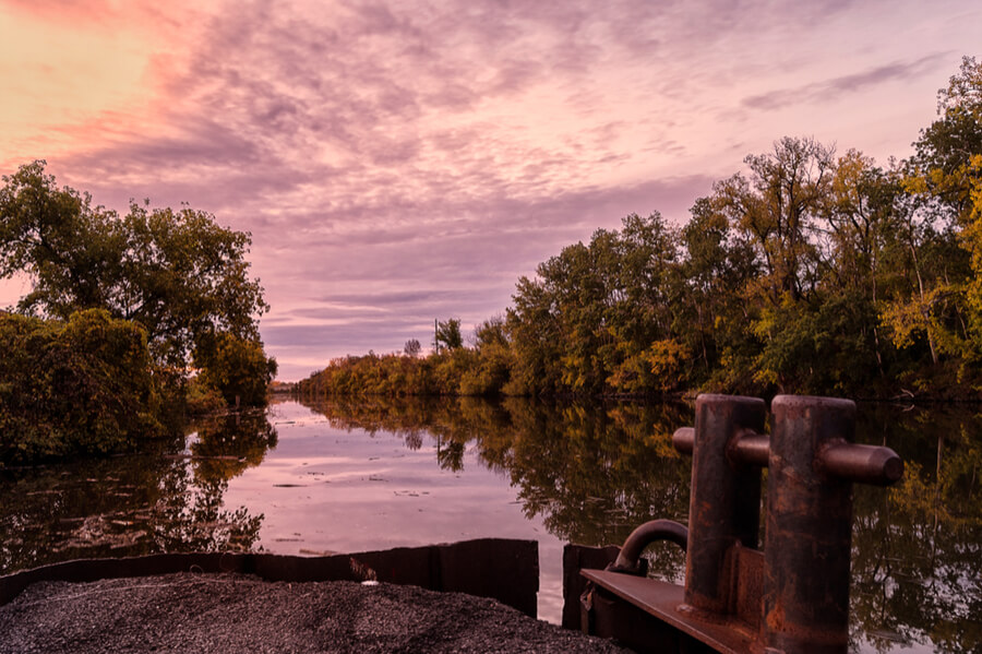 Sunset on Mohawk River in Utica, New York