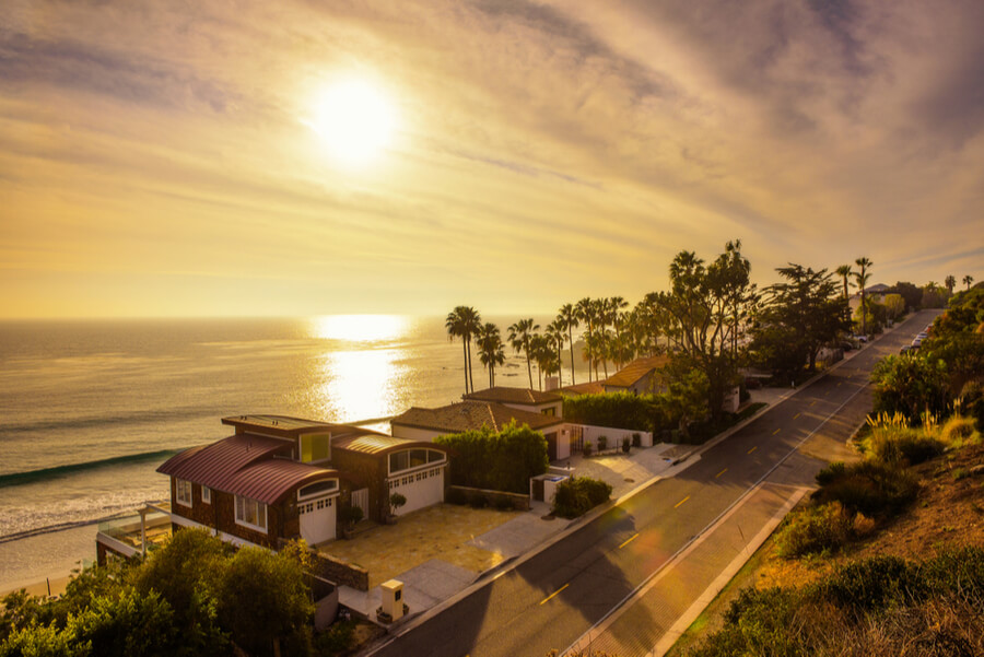 homes of Malibu beach near Los Angeles, California
