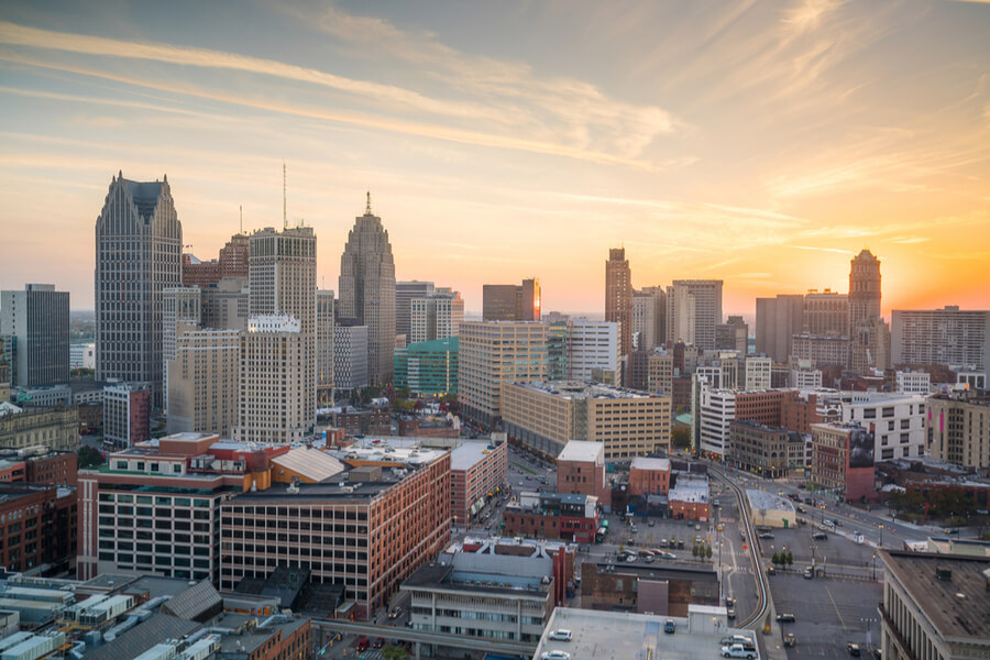Detroit at twilight in Michigan