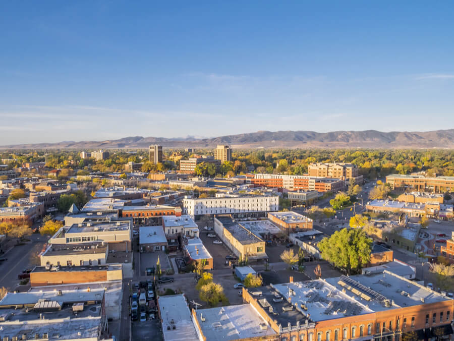 Fort Collins downtown in sunrise