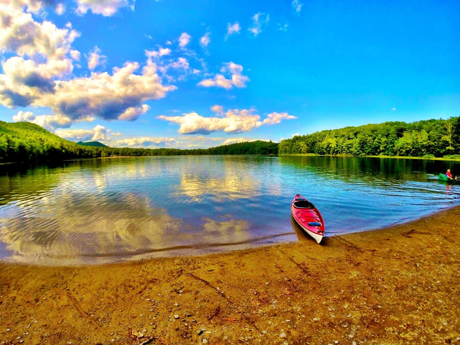 Kayaking on a lake in New York State
