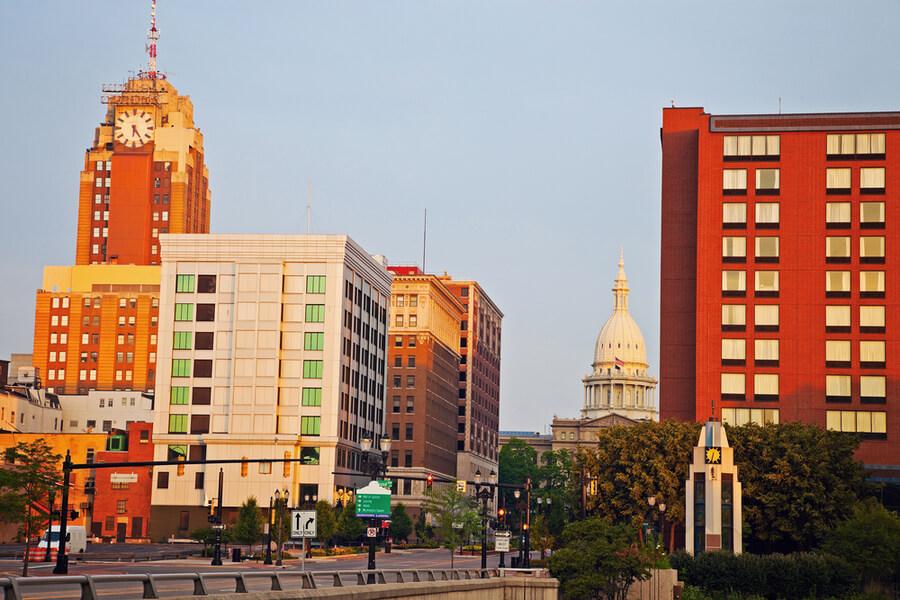 Lansing, Michigan city at sunrise