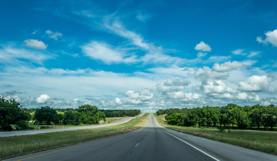 Rural road in Texas, USA