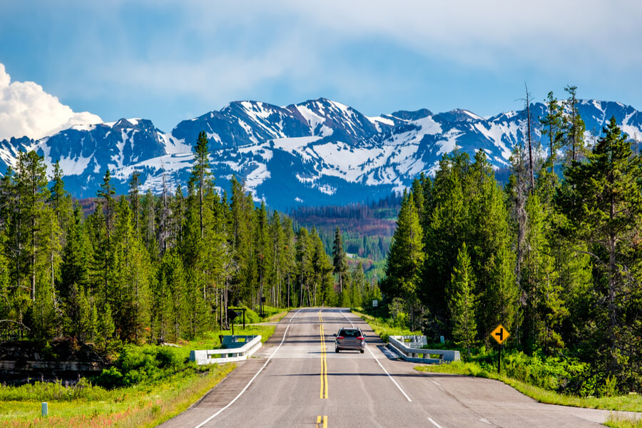 Yellowstone National Park to Grand Teton National Park, Wyoming, USA