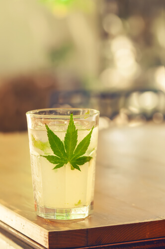 cocktail with weed leaf