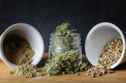 weed flour, buds, and seeds