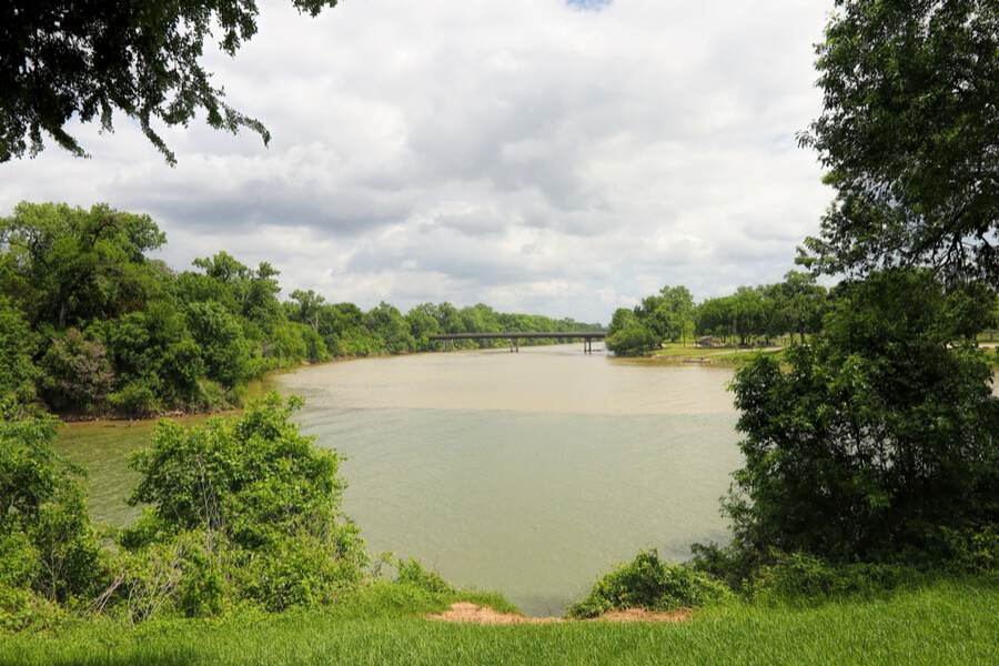 Bosque river meets the Brazos River in Waco Texas