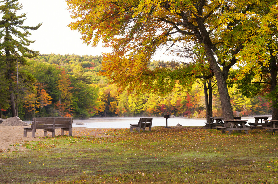 Burr Pond state park in Torrington, Connecticut