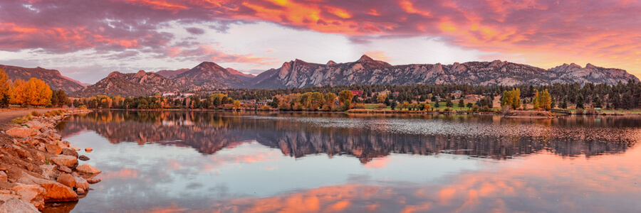 Fiery Sunrise and Alpenglow over Estes Park
