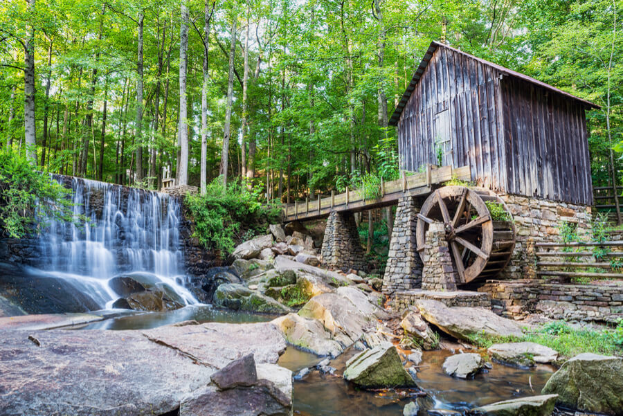 Historic mill and waterfall in Marietta, Georgia