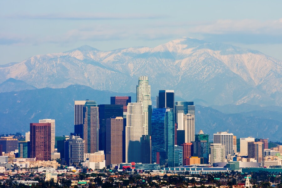 Los Angeles with snowy mountains