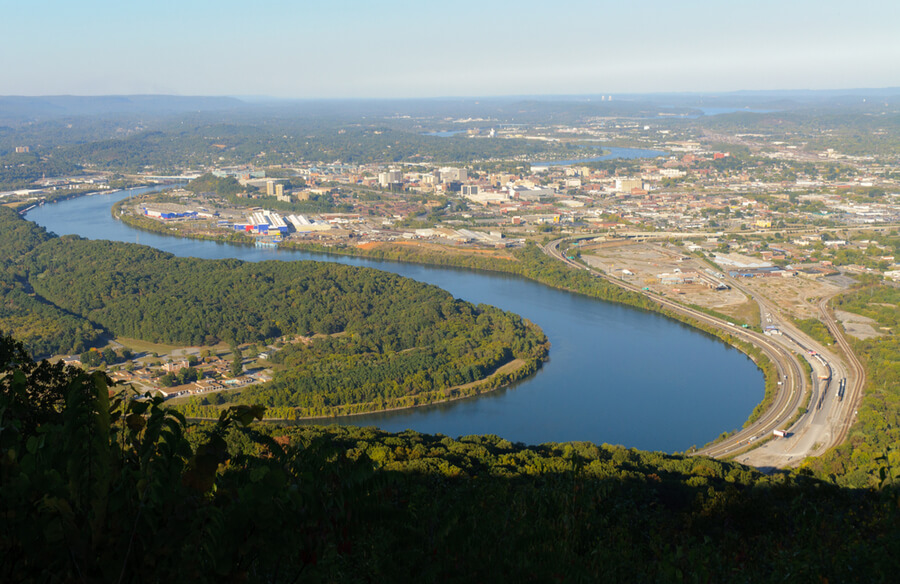 Mountain overlook of Chattanooga, Tennessee