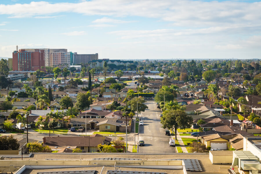 Residential area of Anaheim, California