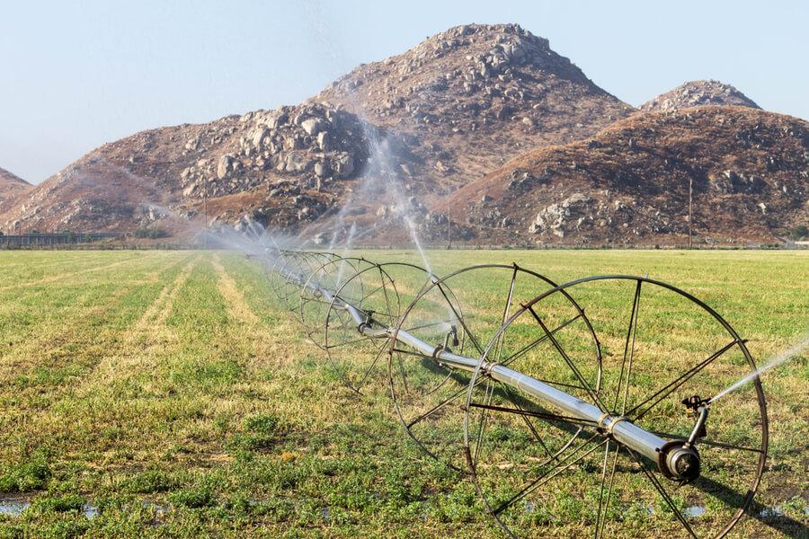 Sprinklers irrigating a field in Hemet, California