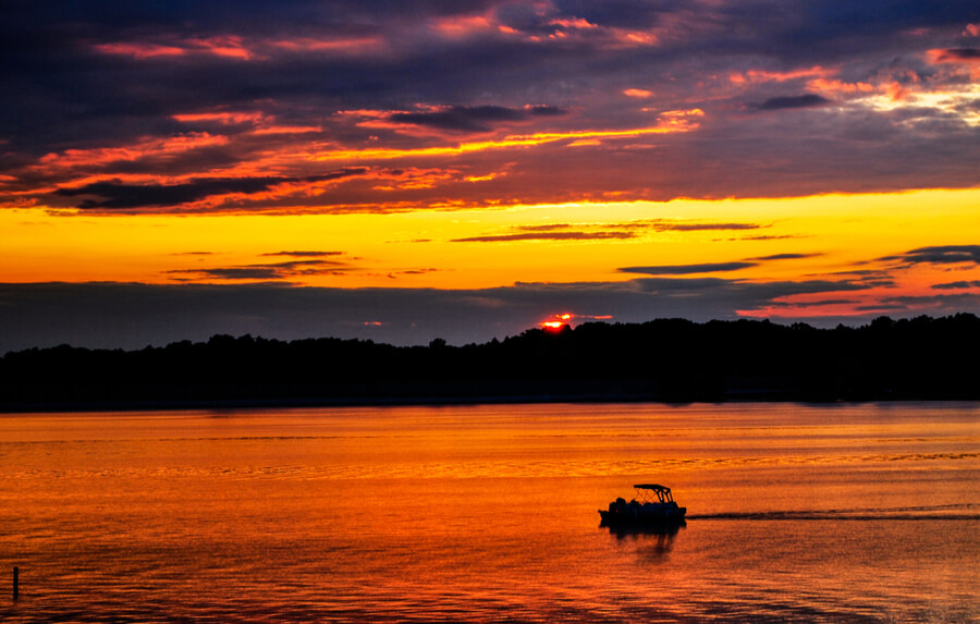Sunset Over CJ Brown Reservoir near Springfield, Ohio