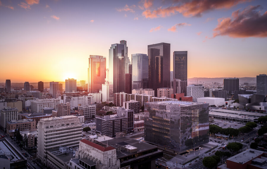 Sunset over Los Angeles downtown