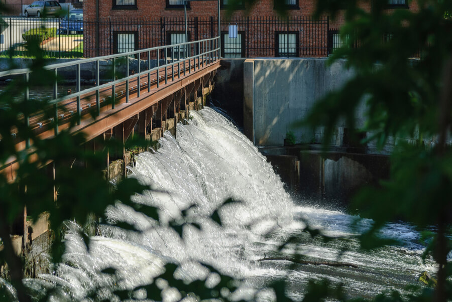 cascading downstream in Waltham, Massachusetts