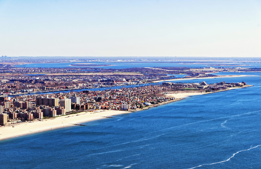 Aerial view from helicopter of Long Island in New York, USA