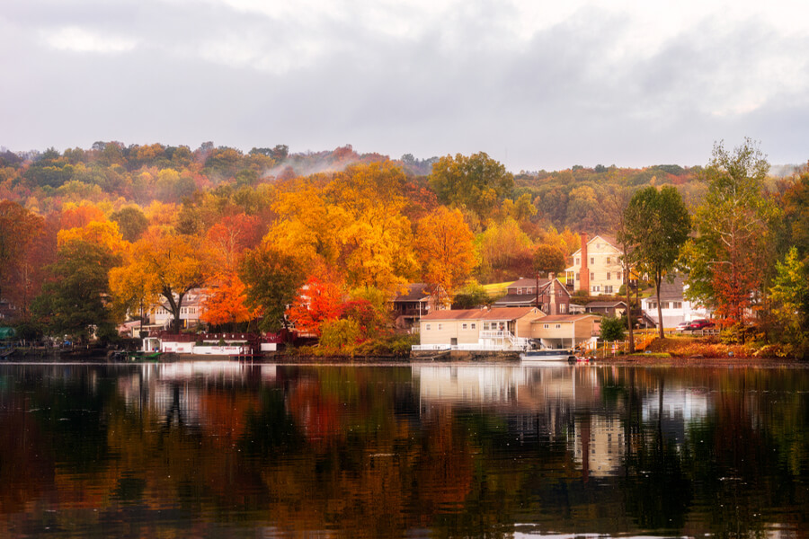 Autumn morning in Shelton, Connecticut, USA
