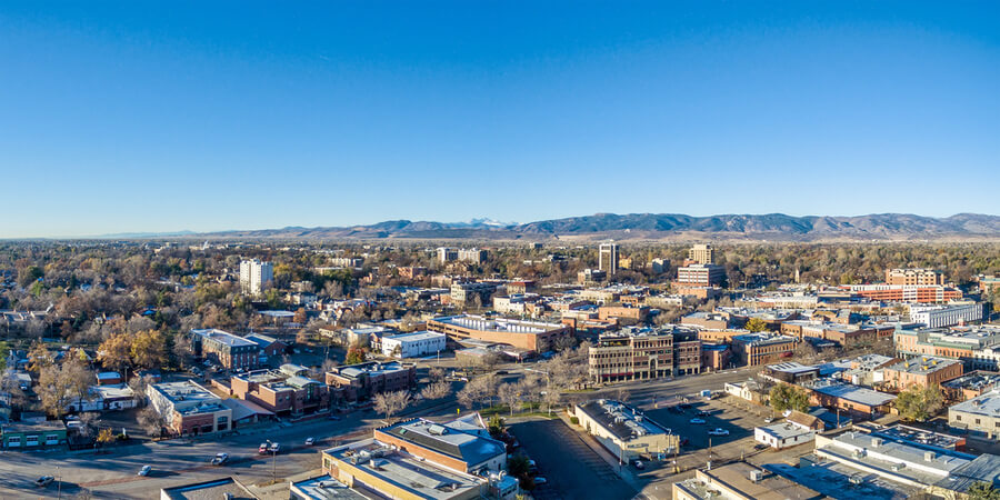 Fort Collins downtown aerial panorama