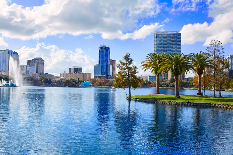 Orlando skyline fom lake Eola