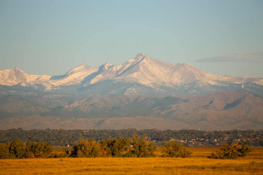 Rocky Mountains and Longs Peak from Commerce City Colorado