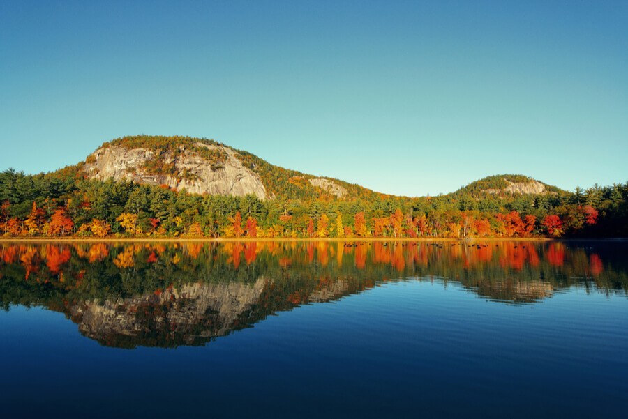 Autumn foliage with lake in New England area